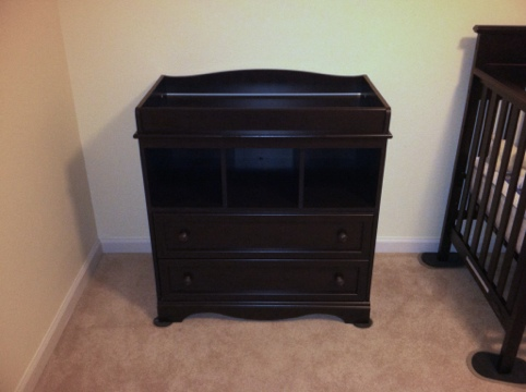 South Shore Savannah Changing Table in Espresso Finished Product