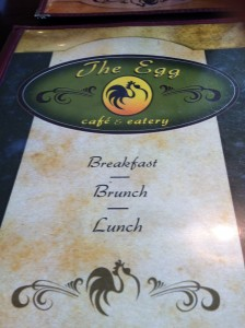 A menu from The Egg Cafe and Eatery in Tallahassee, FL