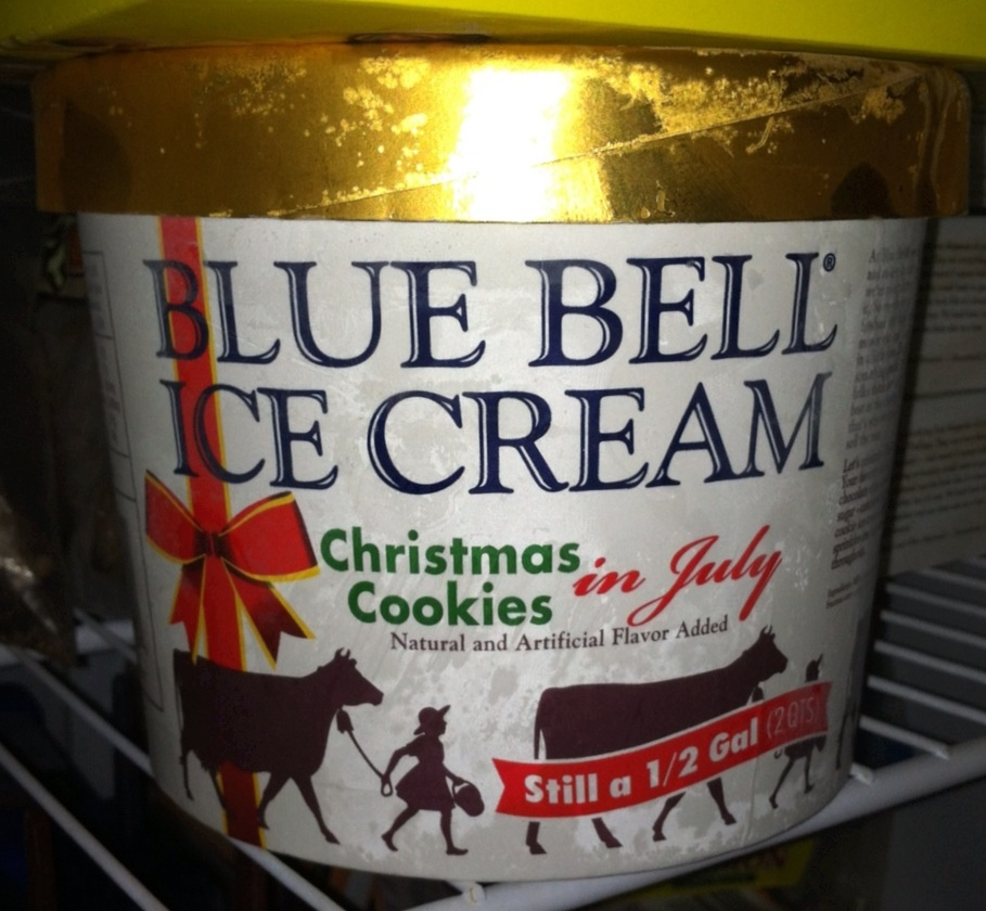 Blue Bell Christmas Cookies in July Ice Cream