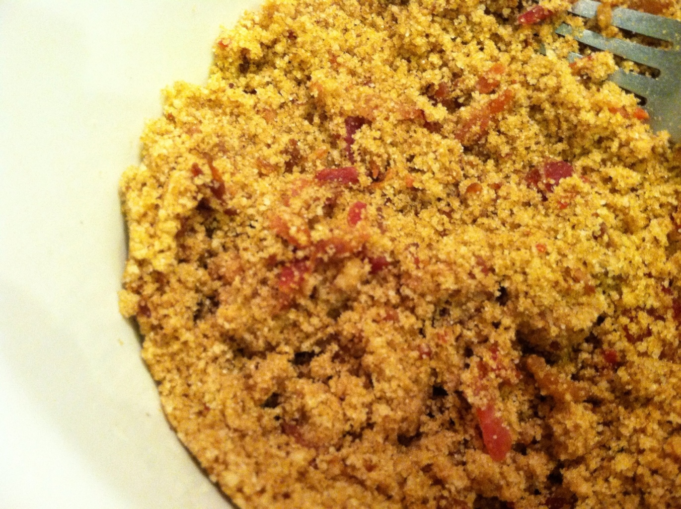 Bacon mixed with streusel topping