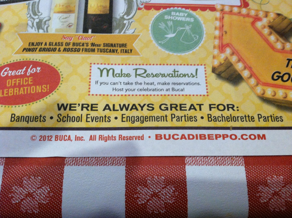 Buca di Beppo Good For Bachelorette Parties